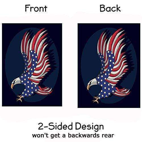 "ALAZA Patriotic Eagle Garden Flag Yard Decoration, 4th Of July Memorial Day Independence Day USA American Flag Double-sided Polyester House Banner for Home Outdoor Anniversary Decor, 12"" x 18"""