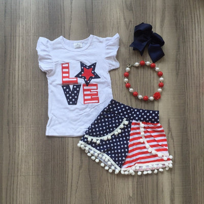 baby girls Summer clothes cotton love America star stripe boutique shorts white navy outfits girls July 4th match accessories