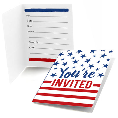 Stars & Stripes - Fill In Labor Day Patriotic Party Invitations (8 count)Stars & Stripes - Fill In Labor Day Patriotic Party Invitations (8 count)