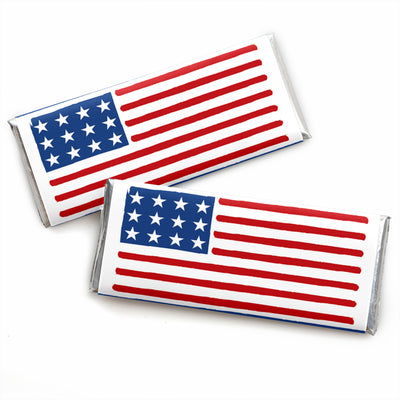 Stars & Stripes - Candy Bar Wrapper Labor Day Patriotic Party Favors - Set of 24Stars & Stripes - Candy Bar Wrapper Labor Day Patriotic Party Favors - Set of 24