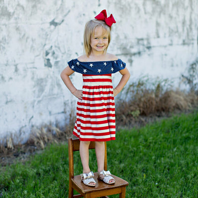 girls dresses summer 2019 casual modis 4th Of July Star Stripe Ruffles baby girl party dress Princess Dresses vestido infantil