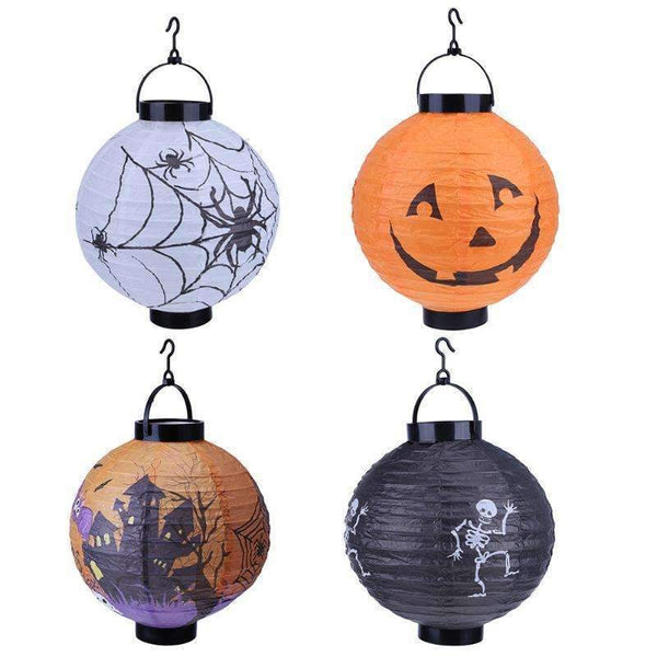 Halloween Decoration LED Paper Pumpkin Hanging Lantern Light Lamp Halloween Decorations for Home Horror Lantern Supplies