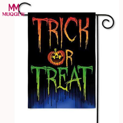 hot sale halloween decoration Trick or Treat Double Sided Suede Glitter Halloween Garden Flag 12.5X18 Inch halloween decoration