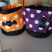 Trick or treat bag, Trick-or-treat bucket,  Halloween Bucket, Personalized, Halloween Basket, monogram, trick-or-treat, Halloween bag