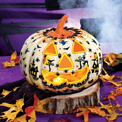 Limited Edition Blue Polish Pottery Jack-O'-Lantern