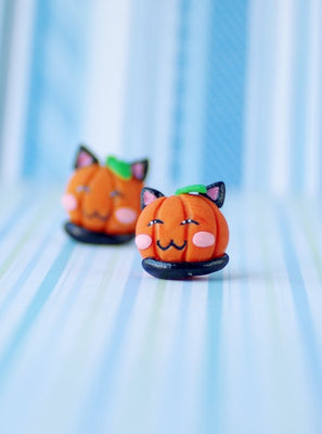 Halloween Pumpkin Earrings, pumpkin cat earrings, kawaii pumpkin stud earrings