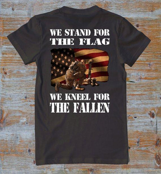 We Stand For The Flag We Kneel for the Fallen/Respect Shirts/Military/USA Flag Shirts/USA/Army/Navy/Marines/Air Force/Veteran/Proud American