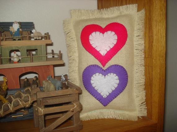 Burlap Valentine's Day pillows, valentine's decor, love pillow, heart pillow, burlap pillow, sweetheart decor, valentine gift