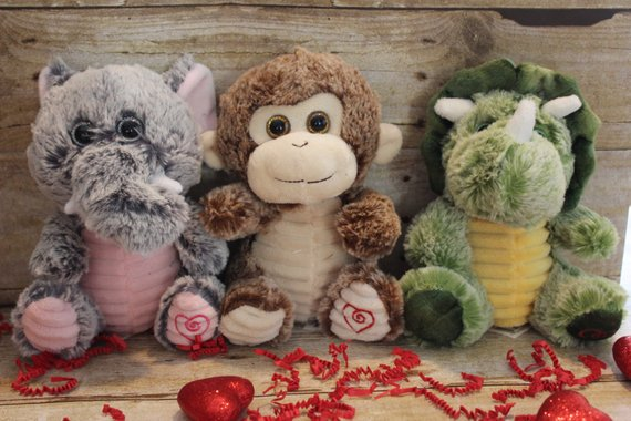 Personalized Valentines Stuffed Animals,  Monogrammed Valentines Gift,