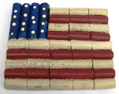 Recycled wine corn American flag trivet, USA flag cork wall art, patriotic, Independence Dary, 4th of July, Veteren's Day, US flag decor