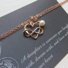 Gift for daughter from mom, infinity heart bracelet, wedding gift for bride, silver rose gold bracelets, Valentines gift, daughter jewelry