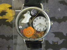Spooky Halloween Watch with glow-in-the-dark pumpkin face and edge of ghost with autumn leaves tombstone moon bats and dead tree