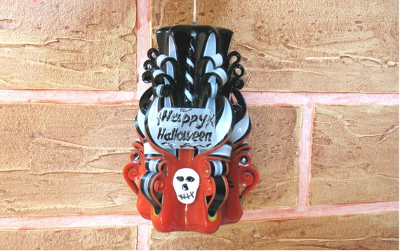 Halloween candle Carved candle orange black gift for Halloween  party Halloween Candles carved dacor skull