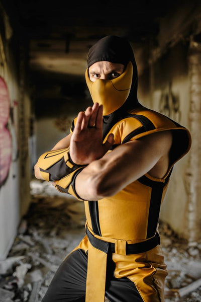 Scorpion mortal kombat cosplay costume from MK 3 Ultimate, Scorpion ninja costume clothing