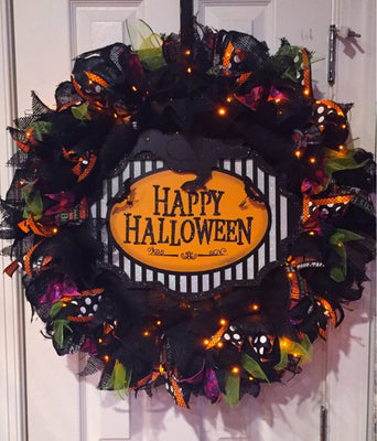 "Halloween Wreath 25"" Black Purple Green and Orange Burlap Light Up Happy Halloween Sign Wreath Halloween Decor Door Wreath Halloween"