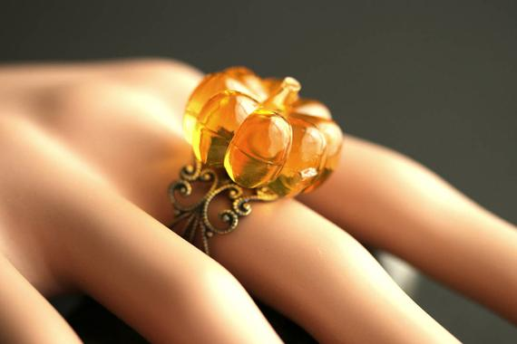 Orange Pumpkin Ring. Halloween Ring. Filigree Ring. Adjustable Ring. Gold Ring, Silver Ring, Bronze Ring, or Copper Ring. Halloween Jewelry.