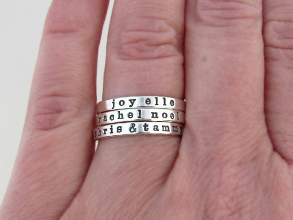 Custom Name Ring, Ring with Names, Personalized Ring, Stacking Name Ring, Sterling Silver Ring, Mom Ring, Silver Ring