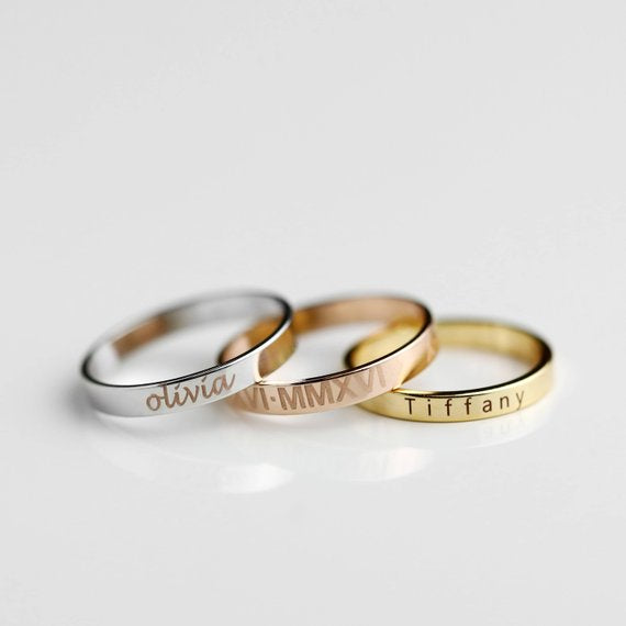 Stacking Ring Engraved Ring Personalized Ring For Women Gold Plated Ring for Women Custom Name Ring Coordinate rings - R4