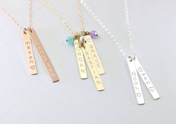 Personalized gift for mom, Mothers necklace, Kids name necklace, Vertical bar necklace, Custom name Bridesmaids necklace, Mothers day gift