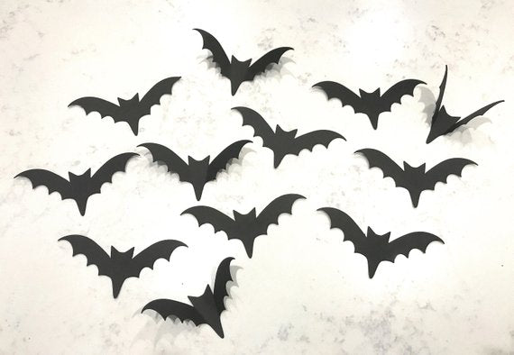 Black Bats, Halloween Bats, Wall Bats, Card stock Bats, Cut-outs, Halloween Wall Decorations, Paper Bats, Party Decor, Halloween Decor,