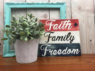 Patriotic Decorations, Americana Decor, Wooden American Flag, American Flag Wall Art, American Flag Decor, Faith Family Freedom Wood Sign