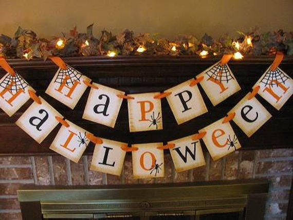 Happy Halloween/Garland/Banner/Party Decoration/Orange and Black/Handmade