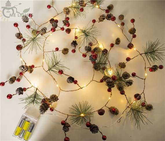 Red berry Christmas Garland Lights LED Copper Fairy lights Real Pinecone string lights for Christmas Holiday Tree and Home Decoration