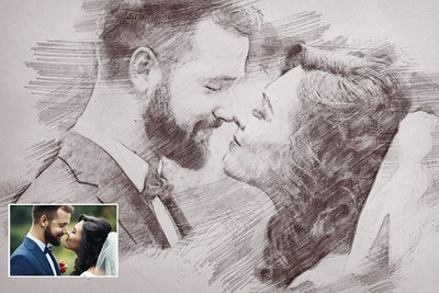 Custom Sketch Portrait, Painting from Photo, Personalized Gift, Digital Drawing, Sketch Print, 1st Anniversary Gift, Valentine's gift