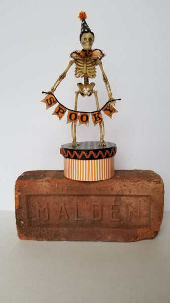 Mr. Bones - Halloween candy container - Halloween skeleton trinket box, treat box, or favor box - whimsical