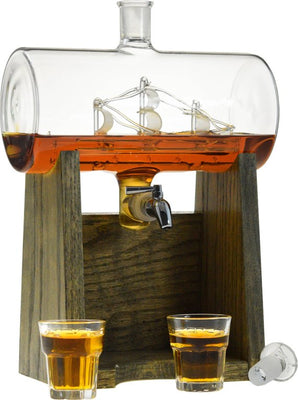 Whiskey Decanter with Glass Ship - Personalized, Engraved Decanter for Scotch, Bourbon, Wine, etc - Great Groomsman Gift or Wedding Gift