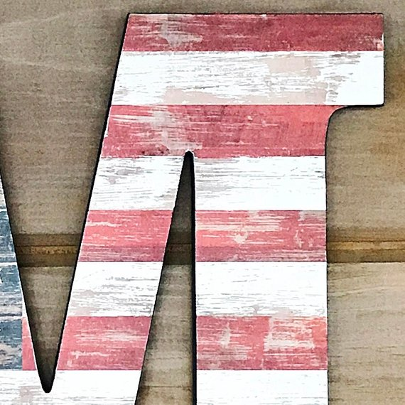 "12"" American Flag Wall Art, Wall Decor, Rustic Decor, American Flag Letter,  Letter Art, Gallery Wall, Hanging Letter, Decorated Letter"