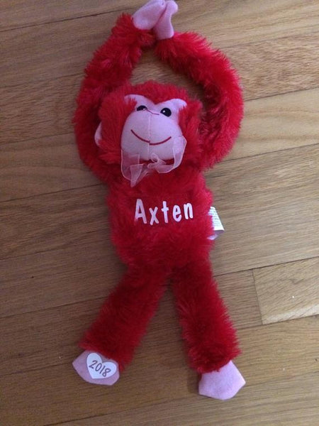 Personalized Valentine Monkeys, Valentine gift, child gift, valentines day