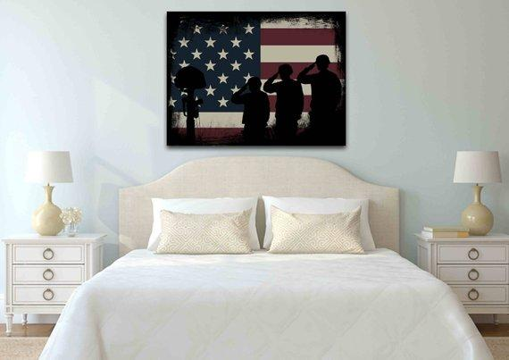 The Salute #5 - Army Rangers- Military Art- Rustic American Flag- Patriotic Wall Art- Navy Seals- Army Wall Decor- US Marines