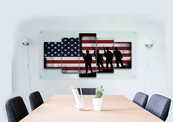 American Flag with Soldiers - Army Rangers- Military Art- Rustic American Flag- Patriotic Wall Art- Navy Seals- Army Wall Decor- US Marines