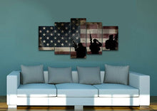 Rustic American Flag with Soldiers #2 - Army Rangers- Military Art- Patriotic Wall Art- Navy Seals- Army Wall Decor- US Marines