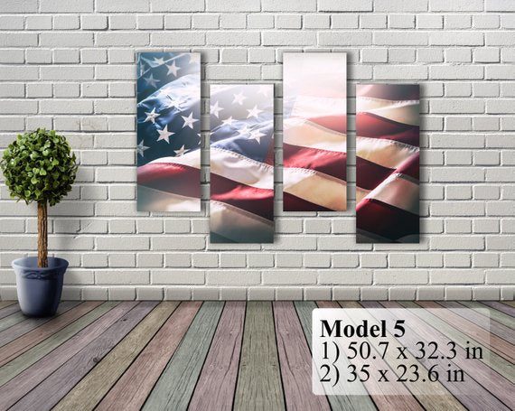 "American Flag Art Canvas Print. Stars and Stripes. USA Flag Canvas. Patriotic Wall Art. Wall Decor. Included framed 1"" depth. Free Shipping"