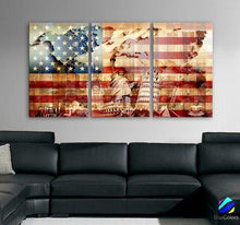 "LARGE 30""x 60"" 3 Panels Art Canvas Print American USA flag Glory Wonders Statue of Liberty Wall decor Home interior ( framed 1.5"" depth )"