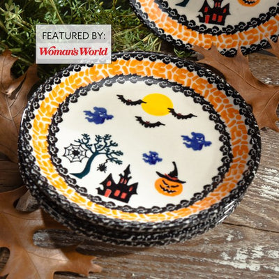 Polish Pottery Appetizer Plate | Halloween Motif | Handmade In Poland