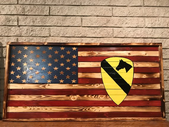 Rustic American flag wood / American flag decor /mantle decor / patriotic decor / wood American flag / military gift / 1st Calvary Division
