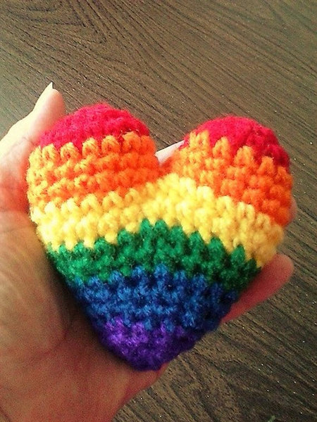 3D Amigurumi Rainbow Heart - Puffy Heart Valentine Gift - Rainbow Pride Heart - Gift of Love - Friendship Gift