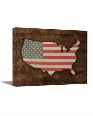 American Flag Map Canvas Art. Retro Rustic Style Art USA Map. American Flag Wall Decor.