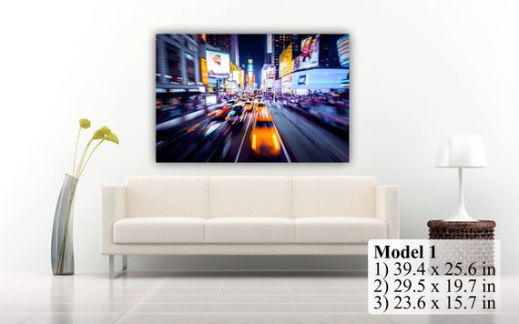"New York Time Square At The Night. Сars in movement motion blur. Wall Art Decor Canvas Print. Many sizes available. Included framed 1"" depth"