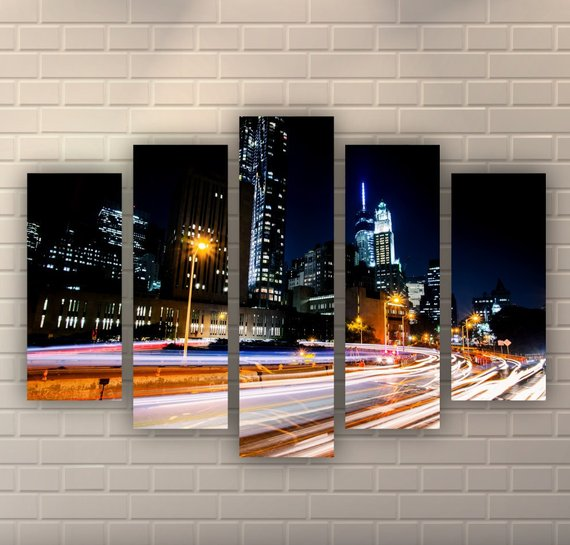 New York Brooklyn Bridge Night Scene. Downtown Manhattan Light Trails. Wall Art Decor Canvas Print. Many sizes available. Wooden frame