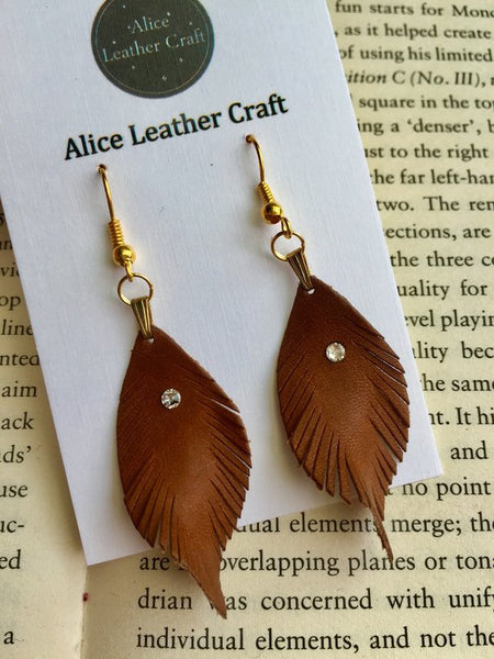 Feathers with Cubics Leather Earrings/Dangle Earrings/Ear hook/Girl Accessories/Valentine's Gift