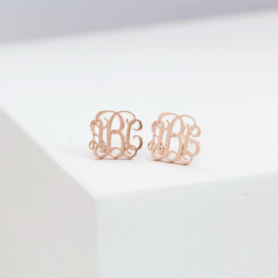 Dainty Monogram Earrings • Minimalist Earrings • Monogram Stud • Custom Name Silver Earrings • Gift for Her • BridesMaids Gifts • CH06