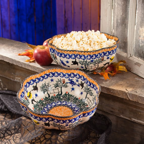 Polish Pottery Serving Bowl | Halloween Motif | Handmade In Poland