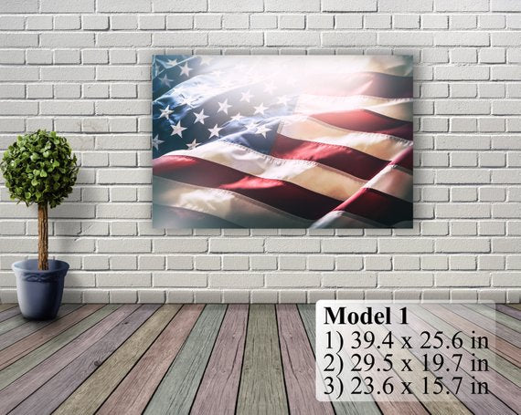 American Flag Art Canvas Print. Stars and Stripes. USA Flag Canvas. Patriotic Wall Art. Wall Decor. Included framed 1