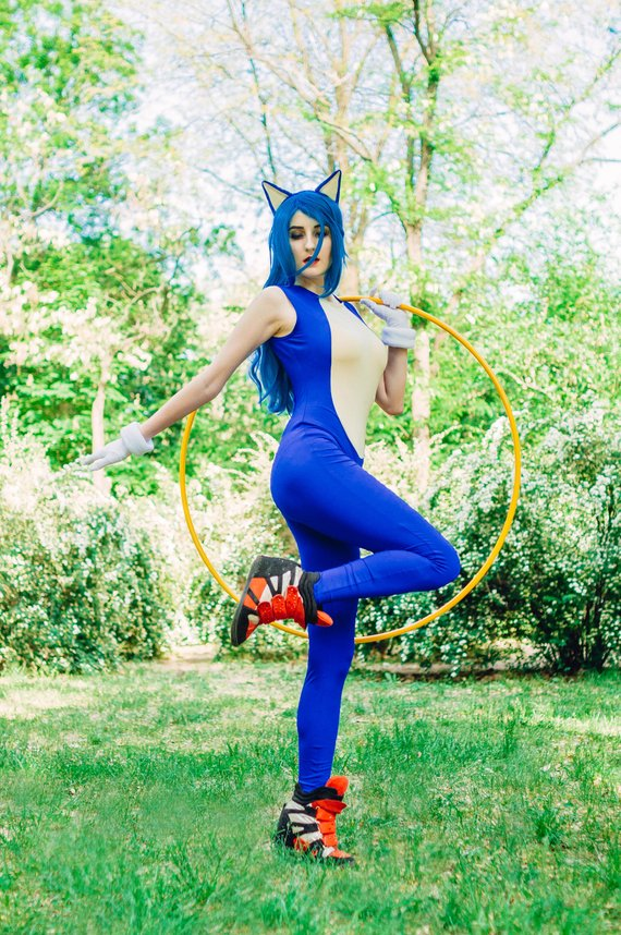 Sonic The Hedgehog Cosplay Sonic Mascot Costume Cosplay Outfit Fancy Adult Dress