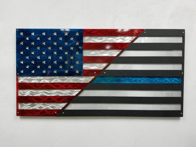 Aluminum American Flag, Thin blue line flag, American Patriot, Patriotic Wall Decor, Police Tribute, Made in America, Handmade