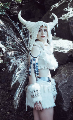 Burning man inspired White Queen costume, Burning man womens White Queen cosplay outfit